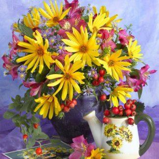 Broderie diamant - Bouquet de fleurs
